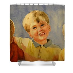 Brothers Shower Curtain by Marilyn Jacobson