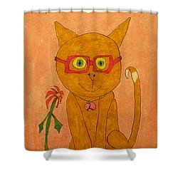 Brown Cat With Glasses Shower Curtain