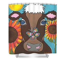 Brown Cow - Children Animal Art Shower Curtain