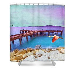 Brown Dock Shower Curtain