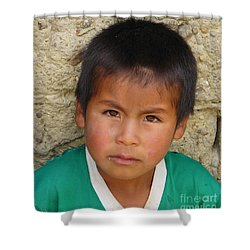 Shower Curtain featuring the photograph Brown Eyed Bolivian Boy by Lew Davis