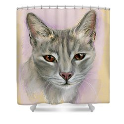 Shower Curtain featuring the pastel Brown Eyed Girl by MM Anderson
