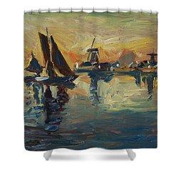 Brown Fleet On The Zaan Shower Curtain by Nop Briex
