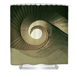Shower Curtain featuring the photograph Brown Spiral Stairs by Jaroslaw Blaminsky