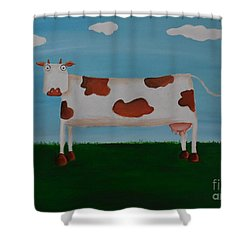 Brown Spotted Cow Shower Curtain