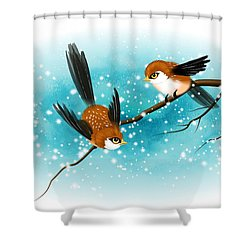 Brown Swallows In Winter Shower Curtain by John Wills