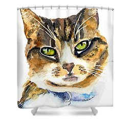 Brown Tabby Cat Watercolor Shower Curtain