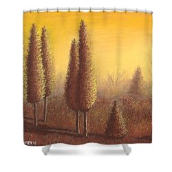 Brown Trees 01 Shower Curtain