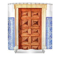 Brown Wood Door Of Old World Europe Shower Curtain