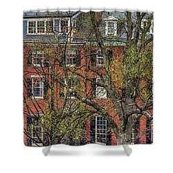 Shower Curtain featuring the photograph Brownstone Panoramic - Beacon Street Boston by Joann Vitali