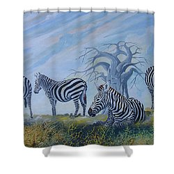 Shower Curtain featuring the painting Browsing Zebras by Anthony Mwangi