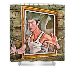 Shower Curtain featuring the painting Night At The Art Gallery - Bruce Awakes by Wayne Pascall