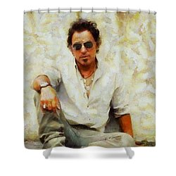 Bruce Springsteen Shower Curtain by Elizabeth Coats