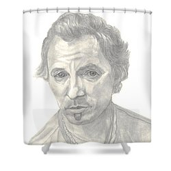 Shower Curtain featuring the drawing Bruce Springsteen Portrait by Carol Wisniewski