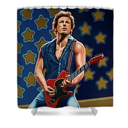 Bruce Springsteen The Boss Painting Shower Curtain by Paul Meijering