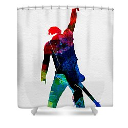 Bruce Watercolor Shower Curtain by Naxart Studio