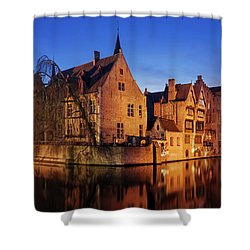 Shower Curtain featuring the photograph Bruges Architecture At Blue Hour by Barry O Carroll