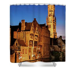 Shower Curtain featuring the photograph Bruges Belfry At Night by Barry O Carroll