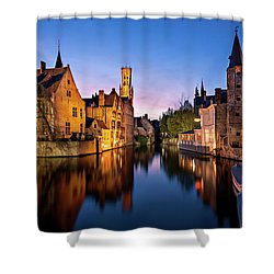 Shower Curtain featuring the photograph Bruges Canals At Blue Hour by Barry O Carroll