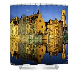 Brugge Twilight Shower Curtain by JR Photography
