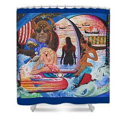 Blaa Kattproduksjoner     Two  Godessess Enjoying  The Nile Spa Shower Curtain