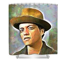 Bruno Mars Shower Curtain by Wayne Pascall
