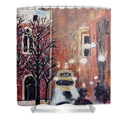 Brussels At Night Shower Curtain by Carolyn Donnell