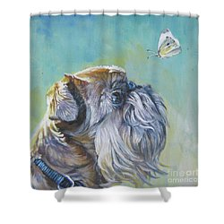 Brussels Griffon With Butterfly Shower Curtain by Lee Ann Shepard
