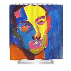 Shower Curtain featuring the painting Bryan Portrait by Shungaboy X