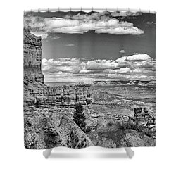 Bryce Canyon In Black And White Shower Curtain by Nancy Landry