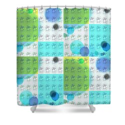 Shower Curtain featuring the mixed media Bubble 2 by Ann Calvo