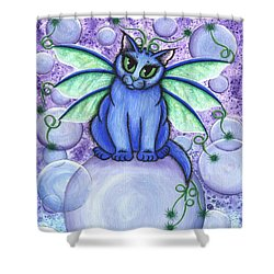 Bubble Fairy Cat Shower Curtain by Carrie Hawks