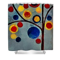 Bubble Tree - Dps02c02f - Left Shower Curtain by Variance Collections