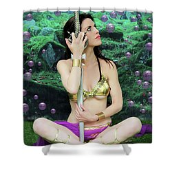Bubbles And Sword Shower Curtain