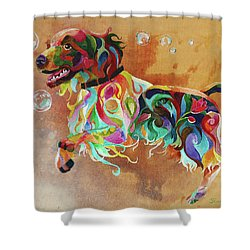 Bubbles  English Springer Shower Curtain by Sherry Shipley