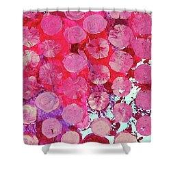 Shower Curtain featuring the mixed media Bubbles by Mary Ellen Frazee