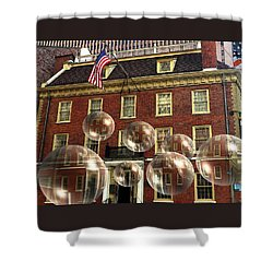 Bubbles Of New York History - Photo Collage Shower Curtain