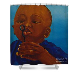 Shower Curtain featuring the painting Bubbles by Saundra Johnson