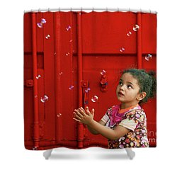 Bubbling Girl Shower Curtain