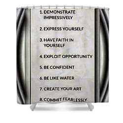 Buce Lee 10 Rules Of Success Shower Curtain