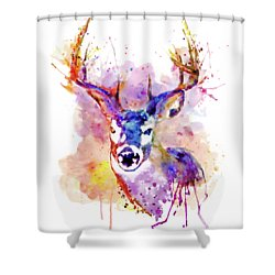 Shower Curtain featuring the mixed media Buck by Marian Voicu