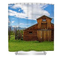Buckaroo Barn Shower Curtain by John Roberts