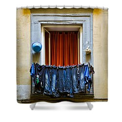 Bucket - Garlic And Jeans Shower Curtain by Dave Bowman