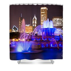 Buckingham Fountain At Night With Chicago Skyline Shower Curtain by Paul Velgos