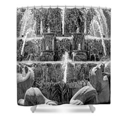 Buckingham Fountain Closeup Black And White Shower Curtain by Christopher Arndt