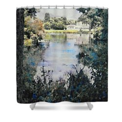 Shower Curtain featuring the painting Buckingham Palace Garden - No One by Richard James Digance