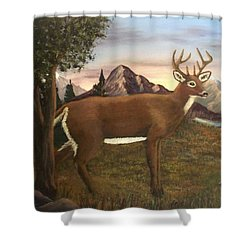 Buck's Wilderness Shower Curtain by Sheri Keith