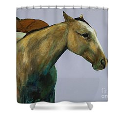 Shower Curtain featuring the painting Buckskin by Frances Marino