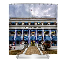 Shower Curtain featuring the photograph Buckstaff Bathhouse - Christmas by Stephen Stookey