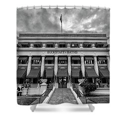 Shower Curtain featuring the photograph Buckstaff Baths - Bw by Stephen Stookey
